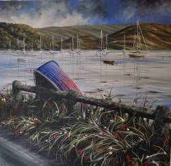 Blue Boat & Poppies - Tighnabruaich